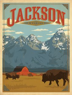 Anderson Design Group Premium Thick-Wrap Canvas Wall Art Print entitled Jackson, Wyoming - Retro Travel Poster, None Retro Poster, Vintage Travel Posters, Pin Ups Vintage, Party Vintage, Jackson Wyoming, National Park Posters, Kunst Poster, Cheyenne Wyoming, Vintage Design