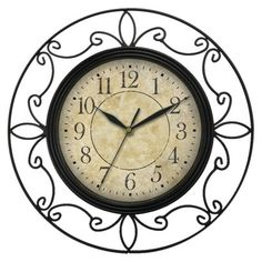 "Wrought Iron Wall Clock - Black (14"")."