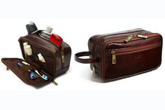 As Seen in Real Simple!  Everyday suits and cuff links might be gone with the wind, but it doesn't hurt to have some gentlemanly accessories around now and then.  This gorgeous leather Aberdeen Dopp Kit is expertly crafted for everyday use, not to mention some seriously swanky traveling.  Lined in water-repellent nylon and featuring a flap-down front to hold toothbrushes, razors and other toiletries. Dimensions: 9.5 x 5.5 x 4.