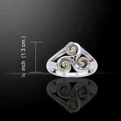 04c0ce44e Details about Silver Celtic Celtic Triskele Silver & Gold Ring MRI660 Size 9