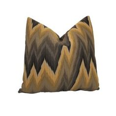 """Decorative Designer Pillow Cover-Ikat Chevron In Yellow & Black Gradation-18""""""""x18"""" :     Price: $42.00    .        **Need A Fresh New Look...Add New Pillows** The Perfect marriage of style and pattern, Ikat Chevron is here!!! This bold and vibrant fabric in yellow and black gradation is sure to bring a statement to any interior space. The back of this pillow cover is a solid grey color...Check Price >> http://gethotprice.com/appin/?t=B008B09FBG"""