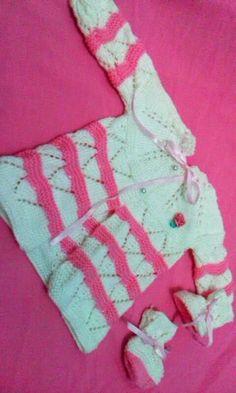 Receita Tricô Fácil : Receita Casaquinho e Sapatinho Bebê Branco e Rosa