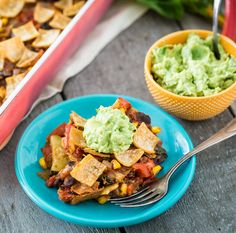 Vegan Enchilada Casserole Recipe: Filling and flavorful, this enchilada casserole is easier to make than enchiladas, since you don't need to roll the tortillas or make a separate sauce.