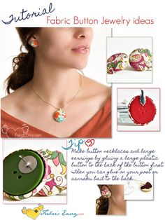 Fabric button jewelry.  Good way for my sewing friends (ahem...Maile...) to use up scraps.  I think the necklace is especially cute!