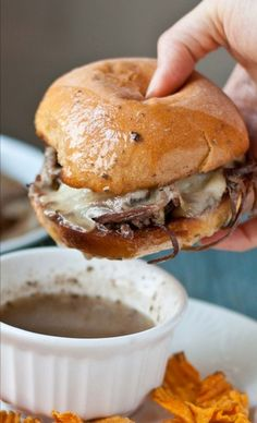 Slow Cooker Beef Brisket French Dip Sandwiches...one of my favorites!!