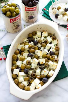 Keto Baked Feta and Olives is our favorite holiday appetizer for last minute guests. Super easy & ready in just 30 minutes. Combine black and green olives with feta, thyme and a drizzle of olive oil. Low Carb Keto, Low Carb Recipes, Healthy Recipes, Delicious Recipes, Low Carb Appetizers, Appetizer Recipes, Party Appetizers, Gluten Free Appetizers, Cold Appetizers