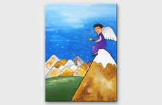 Angel painting Greeting card with angel mountains by AstaArtwork, $14.50