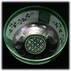 Celtic motif with shamrocks art glass bowl
