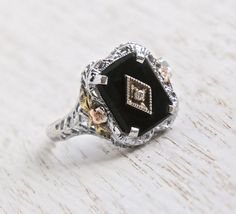 Antique Art Deco 10K White Gold Filigree Ring - Vintage 1920s Onyx Black Stone & Diamond Fine Jewelry / Pat. 1926 Rose, Yellow Gold Flowers by Maejean Vintage on Etsy, $325.00