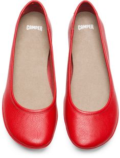 30f685bbc74 Camper Right Red Casual Shoes Women K200387-005 Leather Ballet Flats