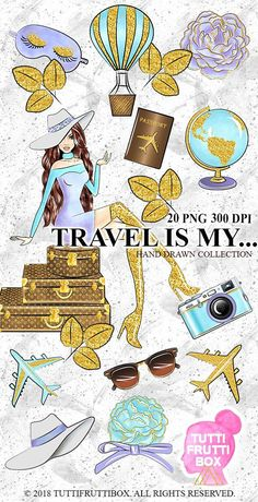 Travel Fashion Girl Boss Clipart Glam Planner Illustration Vacation Glitter Sticker Suitcase Clip Art Lady