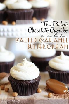 USE the OTHER Salted Caramel Buttercream, this one is modified and uses Dry Dream Whip ? The Perfect Chocolate Cupcake with Salted Caramel Buttercream! These cupcakes are tried and true to be the best! I can't wait to make them! Cupcake Recipes, Baking Recipes, Cupcake Cakes, Dessert Recipes, Cupcake Ideas, Just Desserts, Delicious Desserts, Yummy Food, Mademoiselle Cupcake