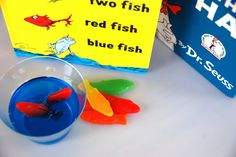 Cute and extremely easy Dr. Seuss treat! Swedish fish in blue jell-o to go along with One Fish, Two Fish, Red Fish, Blue Fish (both products are gluten and casein free)