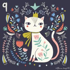 Flora Waycott Christmas Advent Day 9 - a cat in pink socks! get some yourself some pawtastic adorable cat shirts, cat socks, and other cat apparel by tapping the pin! I Love Cats, Crazy Cats, Silly Cats, Frida Art, Photo Chat, Guache, Arte Popular, Cat Drawing, Cute Illustration