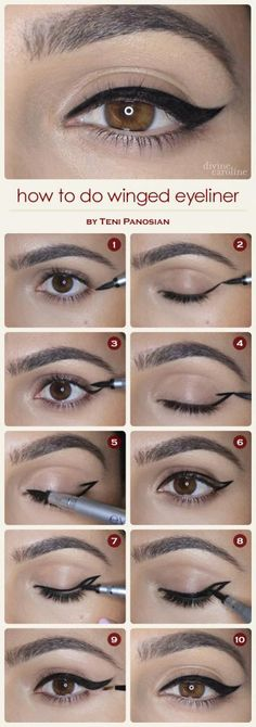 How to Do Winged Eyeliner | Divine Caroline  I love these tutorials but I never seem to get it right :(