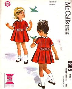 McCall's 6965. Box pleated dress has insets in side seams and in center back seam below waistline. Dress has short set-in sleeves, contrasting bias cuffs and two-piece collar. Ends of novelty ribbon are sewn in pleats at side back and side front and dress is trimmed with buttons. Upper part of dress and sleeves are lined with organdy. Dress has center back zipper. [insert your photos of this pattern made up]