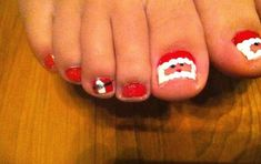 Learn how to make santa clause toe nail designs for Christmas! This nail art is easy to do and is great for holiday parties or kids.
