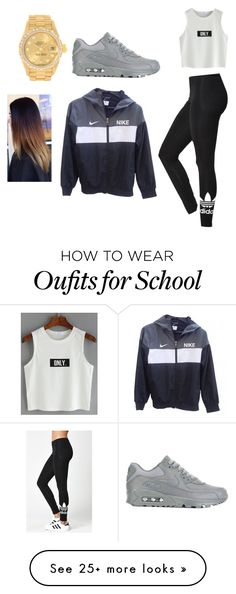 """Too cool for school"" by gazellex on Polyvore featuring adidas, NIKE and Rolex"