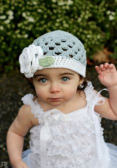 Beanie Hat Crocheted The Angelica Silver by SparkleberryCrafts, $23.00