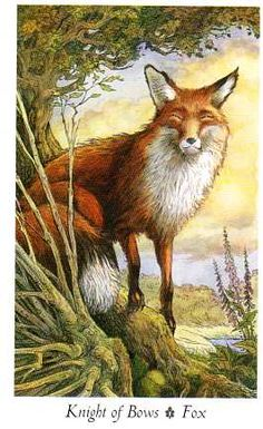 Wildwood Tarot: Knight of Bows (Wands) Tarot Card Decks, Tarot Cards, Wildwood Tarot, Tarot The Fool, Knight Of Wands, Deer Illustration, Tarot Card Meanings, Cartomancy, Deck Of Cards