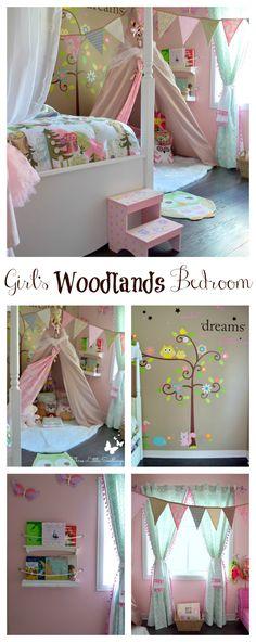 Girl's Woodlands Bedroom - Three Little Seedlings - So many inexpensive diys - You'll love remodeling your little girl's bedroom - threelittleseedlings.com/girls-woodland-bedroom
