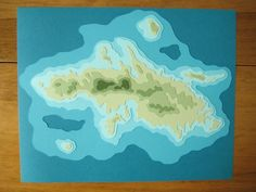 Paper craft topography maps