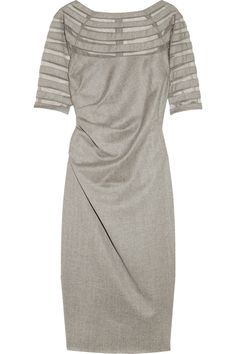 Lela Rose|Mesh-striped wool and cashmere-blend dress|NET-A-PORTER.COM