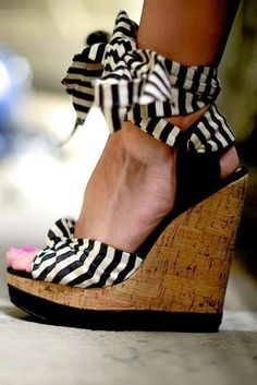 Ankle Strap Tie Striped Wedges