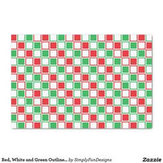 Red, White and Green Outlined Squares Tissue Paper