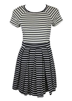 Copious: Tibi Womens Navy Ivory Stripe Ss Flare Box Pleated Dress