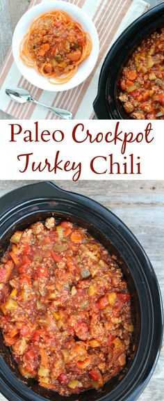 Healthy Paleo Turkey Chili is a tasty, easy meal made in the crockpot. Loaded with vegetables, spices & lean turkey - it's going to be your new favorite dinner recipe for fall/winter!