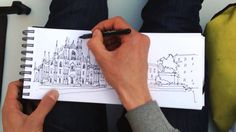 Drawing Milano, pen and watercolors - YouTube