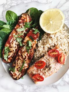 Baked Salmon and Marinara Eggplant Boats