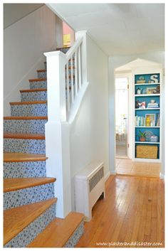 The hallway reveal, which wraps up several projects including fabric covered stair risers and transforming a pantry into open shelving. Modern Staircase, Staircase Design, Staircase Ideas, Staircase Decoration, Stair Design, Spiral Staircase, Hardwood Stairs, Wooden Stairs, Staircase Makeover
