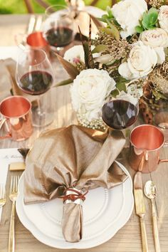 copper + champagne table setting // photo by Cameron Ingalls // styling by Danae Grace Events // flowers by Adornments Flowers & Finery // view more: http://ruffledblog.com/equestrian-inspired-wedding-ideas