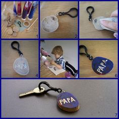 Father& Day crafting: key ring - Craft a Father& Day gift (including photo work description) - Coffee Cup Crafts, Cute Teacher Gifts, Elderly Activities, Indoor Activities, Ring Crafts, Crafty Kids, Baby Art, New Home Gifts, Kids Church