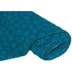 """Tissu loden  20 €/m  """"étoiles"""", pétrole/turquoise, tissu de haute qualité à motif d´étoiles feutré, joli tissu pour vestes, ponchos, capes, etc., dim. motif d´étoiles : 6 - 8 cm Ø.Composition : 65 % laine, 35 % polyesterPoids : env. 315 g/m²Epaisseur : 2 mmLargeur : 140 cmLe tissu est facile à travailler parce qu´il ne frange pas."""