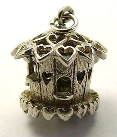 Vintage Silver Charm Bird House Opens Swallow..