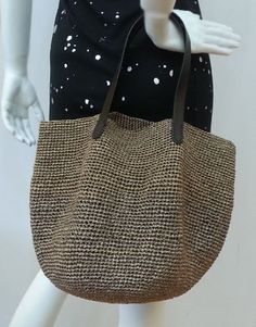 crocheted summer raffia brown tote beach bag,crochet bag with leather handles Crotchet Bags, Crochet Tote, Knitted Bags, Bead Crochet, Carry All Bag, Cheap Bags, Beach Tote Bags, Leather Handle, Straw Bag