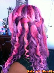 Pink And Purple Hair Curly Waterfall Braid Hairstyle Twist