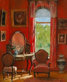 ◇ Artful Interiors ◇ paintings of beautiful rooms - Stanislav Julianovic Zukowski ~ Red Room, 1939