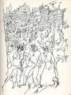George Grosz draws city scenes with a great feeling of chaos and claustrophobia George Grosz, Travel Sketchbook, West Berlin, Art Students League, Gcse Art, Environmental Art, Illustrators, Concept Art, Van Gogh
