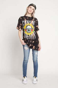 713141d50 Guns and Roses Classic Logo T Shirt Tye Dye Bleached Distressed Vintage  look Rock Band T Shirts Classic
