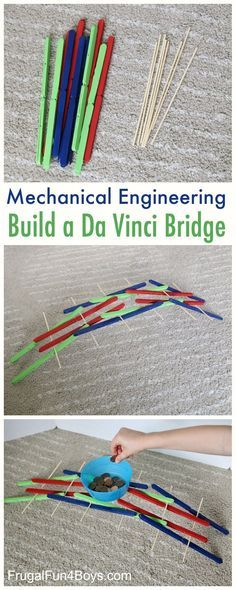STEM Activity for Kids - Build a Da Vinci Bridge with Popsicle Sticks.  Great for studying mechanical engineering!