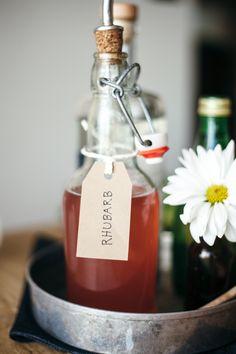 Homemade rhubarb simple syrup recipe.