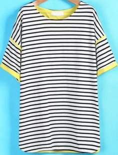Black White Striped Short Sleeve Loose T-Shirt US$19.25