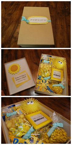 Box of Sunshine – Apartment Marketing Idea - Care Package ideas Newest 2020 Bff Gifts, Best Friend Gifts, Cute Gifts, Teacher Gifts, Sister Gifts, Birthday Box, Friend Birthday, Birthday Gifts, Sunshine Care Package