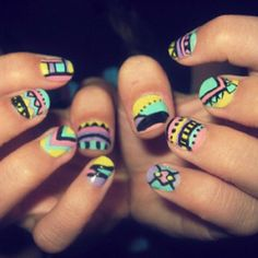 Tribal nails(: unique!