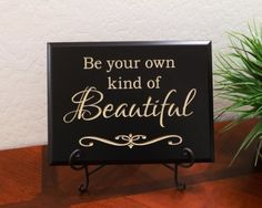 "Amazon.com - Timber Creek Design Decorative Carved Wood Sign with Quote ""Be your own kind of Beautiful"" 3D Carved 12""x9"" Black - Decorative Plaques"