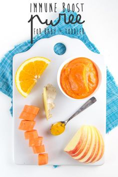 A perfect puree to help boost the immunity of your little one - filled with carrots, apples, fresh orange juice, ginger and turmeric, this puree will help keep your kiddo from getting sick all season long.